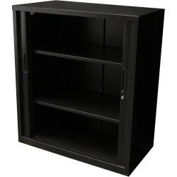 Go Steel Tambour Door Storage Cupboard Includes 2 Shelves 1016Hx900Wx473mmD Blac