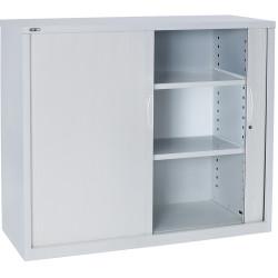 Go Steel Tambour Door Storage Cupboard Includes 2 Shelves 1200Hx900Wx473mmD Whit