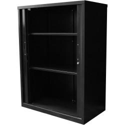Go Steel Tambour Door Storage Cupboard Includes 2 Shelves 1200Hx900Wx473mmD Blac