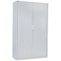 Go Steel Tambour Door Storage Cupboard Includes 5 Shelves 1981Hx900Wx473mmD Whit