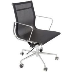 WM600 Medium Back Mesh Meeting Chair Aluminium Frame Black Mesh Seat and Back