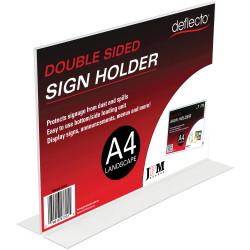 Deflect-O Sign Menu Holder Double Sided A4 Landscape