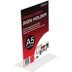 Deflect-O Sign Menu Holder Double Sided A5 Portrait
