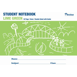 Writer Student Notebook 175x240mm 8mm Double Ruled 32 Pages Lime Green