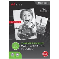 GBC LAMINATING POUCHES A4 80 MICRON MATT BOX 100