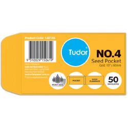 Tudor Plain Envelope Seed Pocket No4 Moist Seal Gold Pack Of 50
