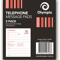 TELEPHONE MESSAGE PADS 100x120mm 50 leaf PK5