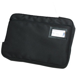 MARBIG FABRIC ZIPPERED CONVENTION SATCHEL Black Expanding