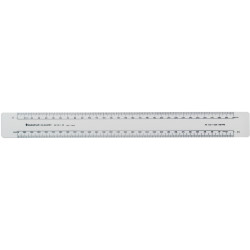 STAEDTLER OVAL SCALE RULERS 300MM SCALE FRONT 1:1,1:2 BACK