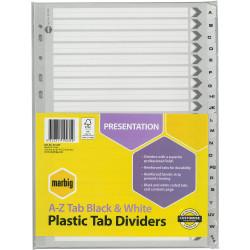 A4 DIVIDERS A-Z REINF TAB BRD BLACK/WHITE SET