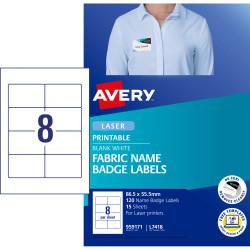 """AVERY L7418 FABRIC NAME """"LABELS  959171 8/SHT 86.5X55.5MM PK15"""