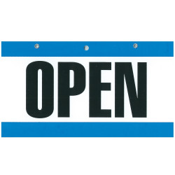 GEO BLUE/WHITE SIGNS 75X150MM OPEN/CLOSED